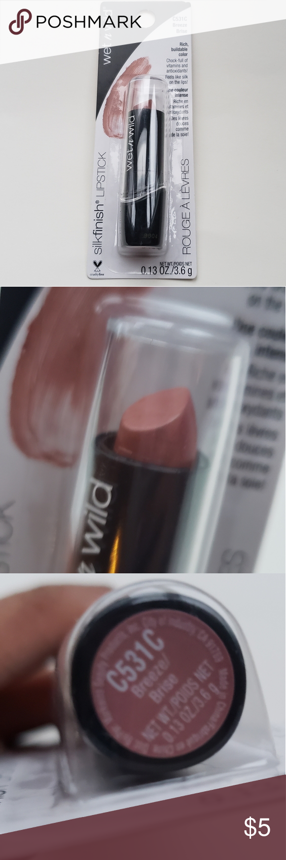 Photo of Silk Finish Nude Lipstick The Wet n Wild nude pinkish lipstick has a buttery col…