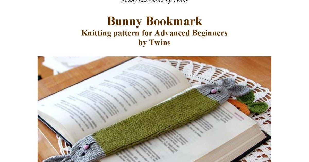 Twins\' Knitting Pattern MiniShop: Bunny Bookmark - free knitting ...