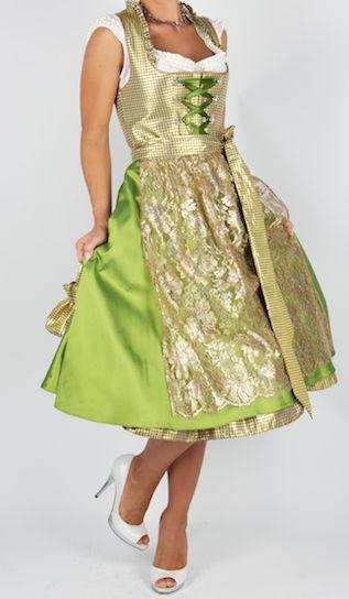 7235 Kinga Mathe Seidendirndl 70er Vanessa grün gold 32 - Dirndl und Trachten Trachtenhimmel