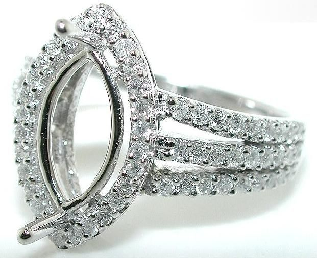 75 Ct Triple Shank Marquise Halo Diamond Mounting Ring Setting