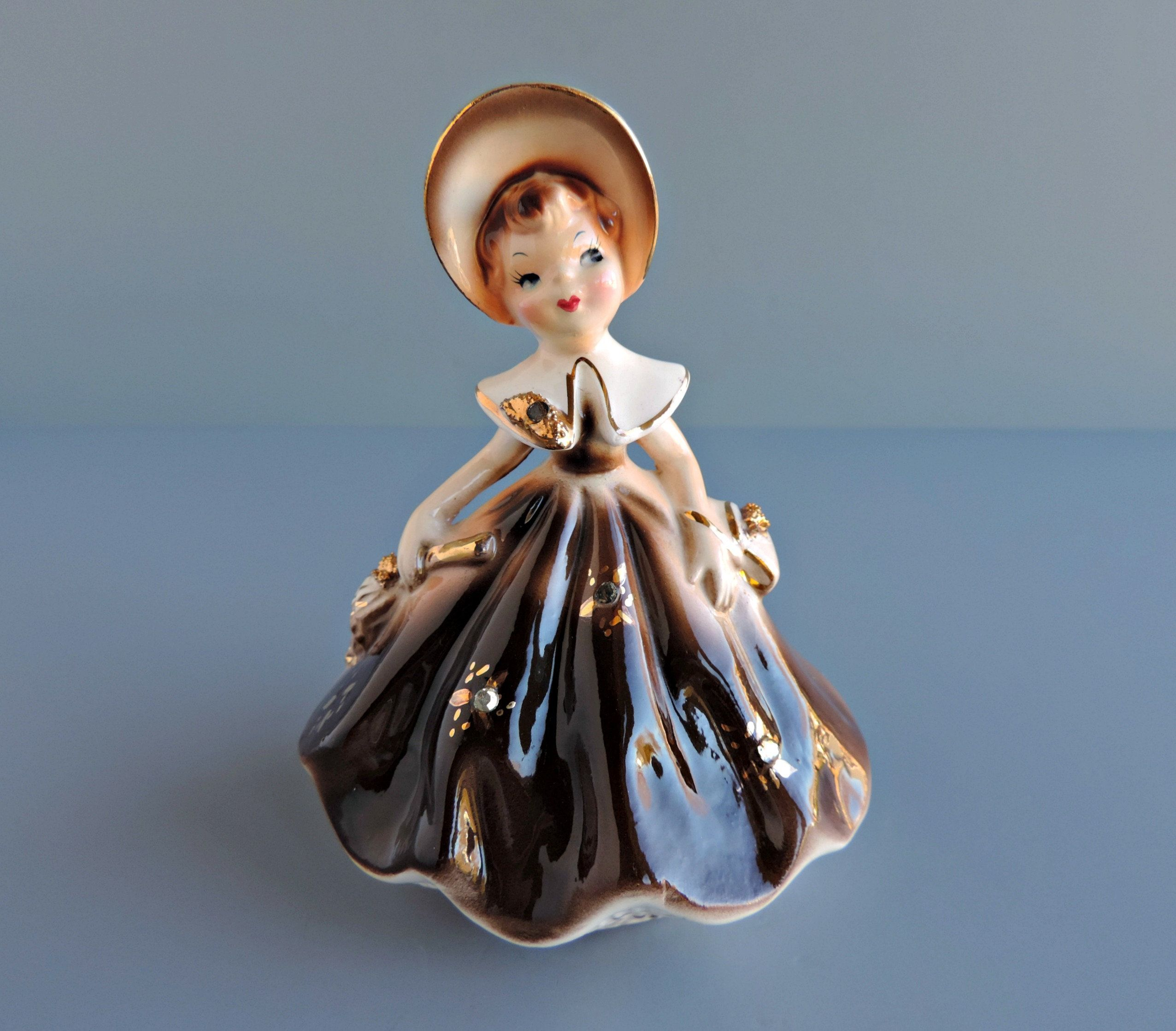 Vintage Inarco Angel Planter Spaghetti Trim Mid-Century Japan Girl With Hymn Book Cachepot