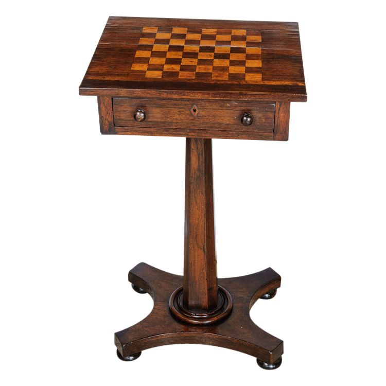 Beautiful side table with inlaid check board pattern top. C,1860