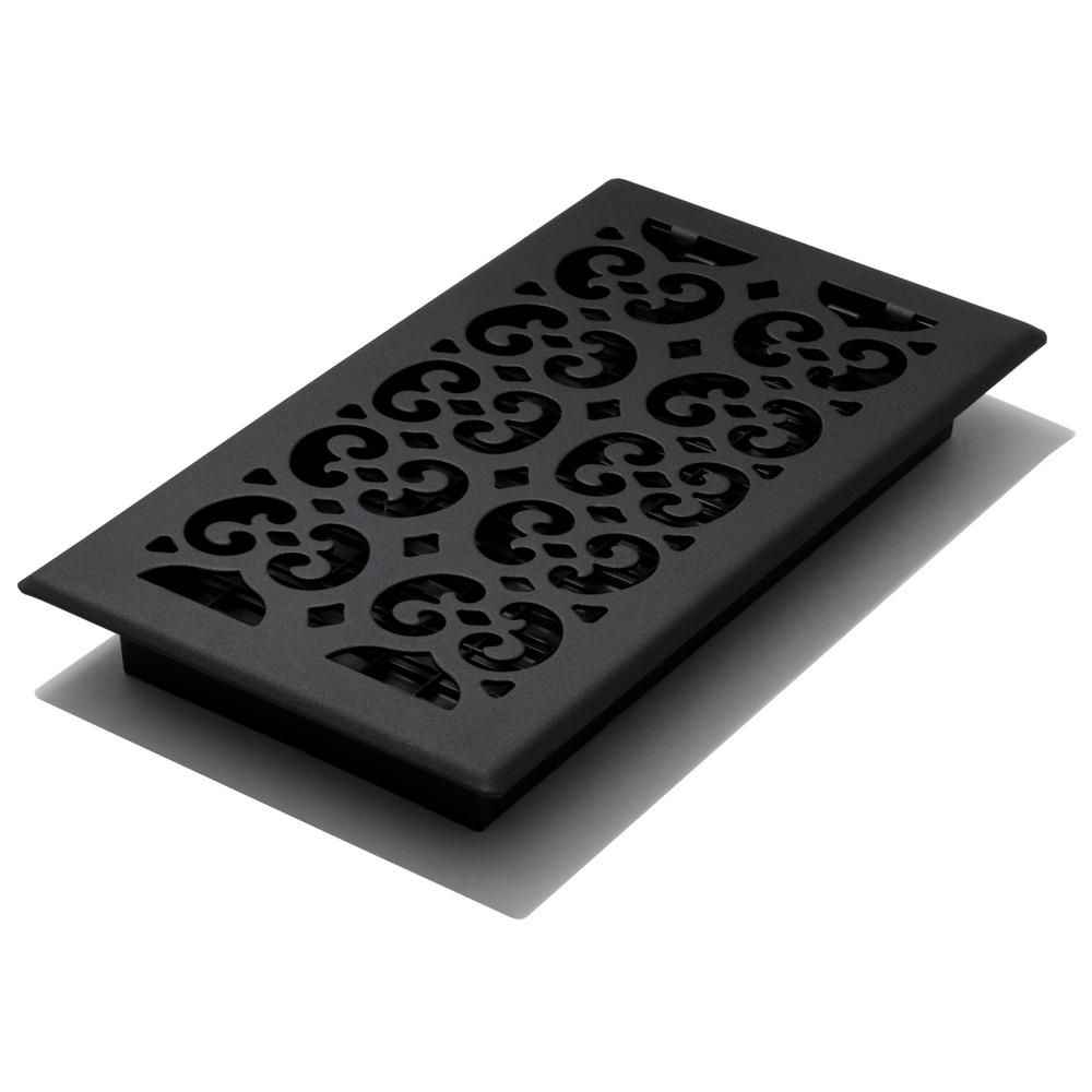 Decor Grates 6x12 Scroll Text Black Floor Register In 2019 Black Floor Floor Decor Flooring