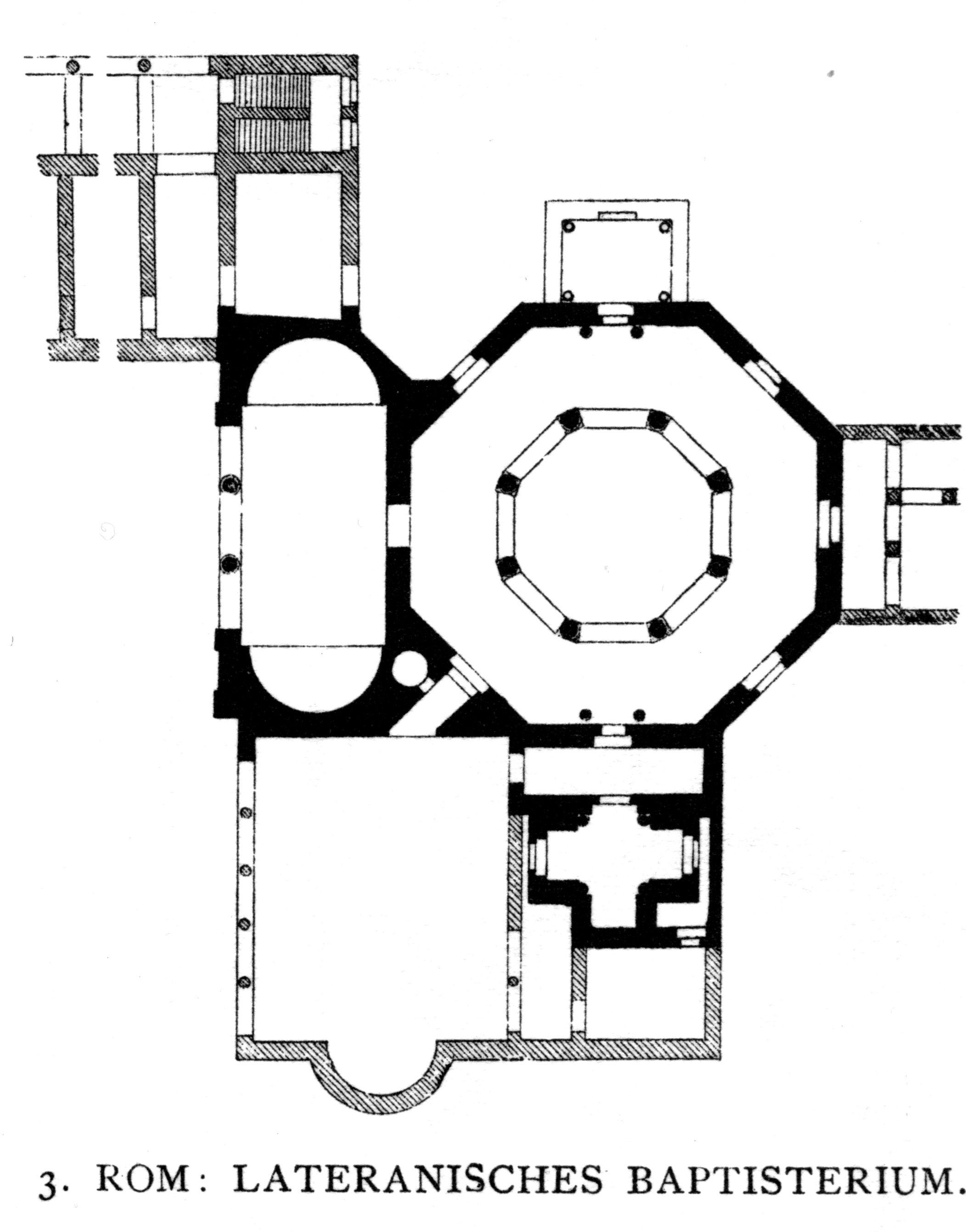 Lateranski baptisterij, 440, Rim, tlocrt