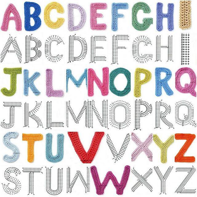 charted crochet alphabet. | Crochet | Pinterest | Ganchillo, Letras ...