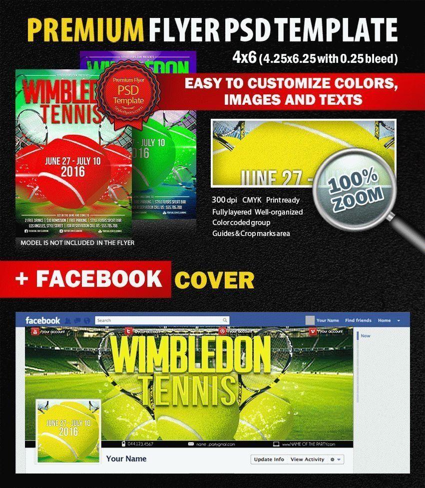 Tennis Wimbledon PSD Flyer Template (With images) Psd