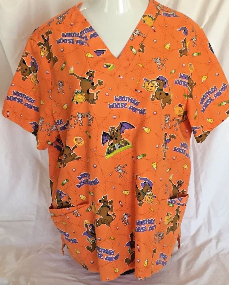 halloween scooby doo 2x scrub top plus size nurse uniform medical haunted house - Halloween Scrubs Uniforms