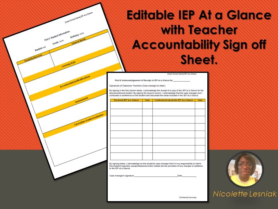 Editable Iep At A Glance With Teacher Accountability Sign Off