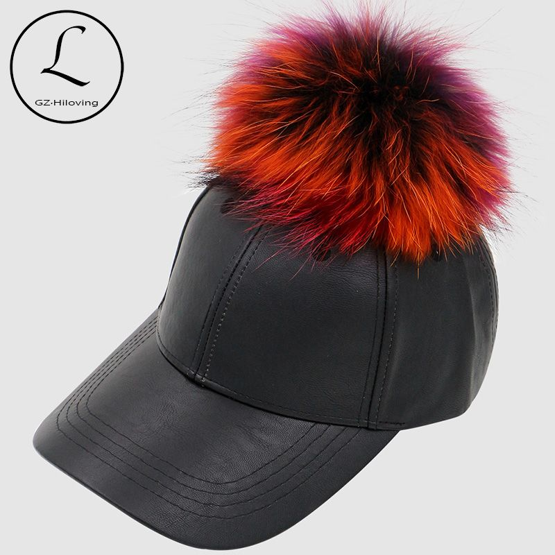 dbbd3ed9acb GZHILOVINGL New Brand Hats Colorful Big Fur Ball Black Caps Real Fur Pom Pom  Cap For