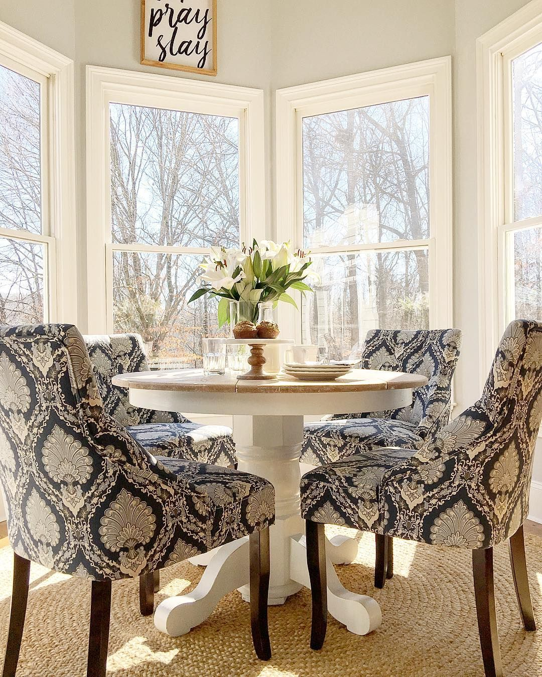 Small round kitchen table  what I want for my kitchena small round pedestal table with four