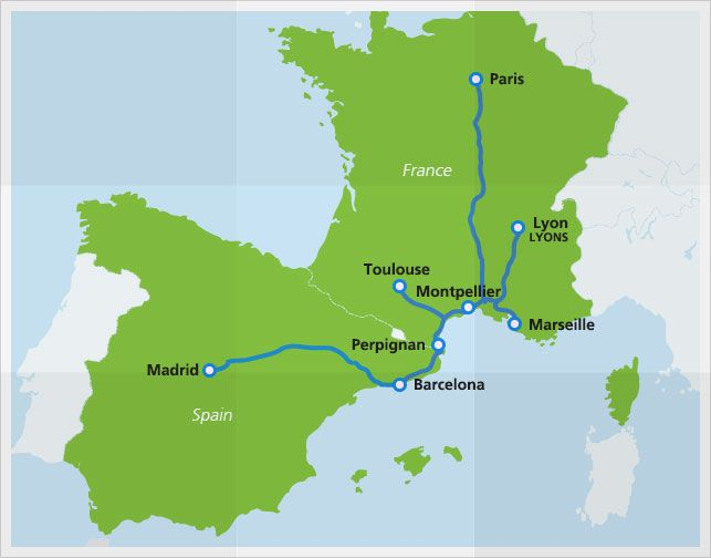 Map With Train Routes Of RenfeSNFC Highspeed Train France And - Barcelona map europe