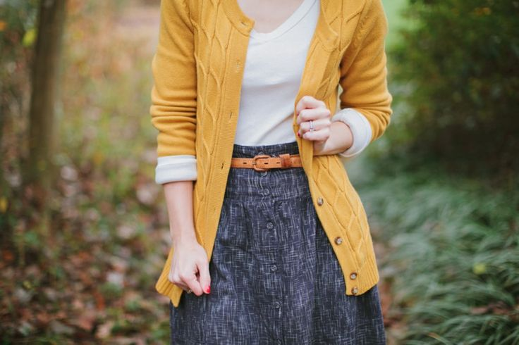 mustard, yellow, cardigan, style, fashion, grey skirt, belt, outfit, simple