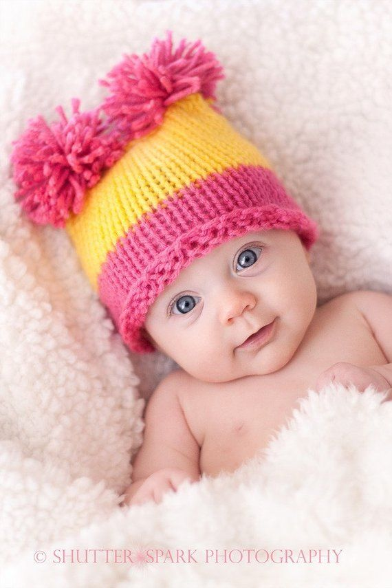 Photo of Baby Hat: Newborn Baby Hat, Knit Newborn Baby Girl Hat, Pink and Yellow or Choose your own Colors