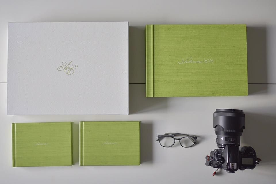 Young Book with matching Parent Books printed in  HD fine art smooth paper   cover is Maple material, book edge is colored same as the cover green.  Stunning creation by Andrea Gatto of Italy