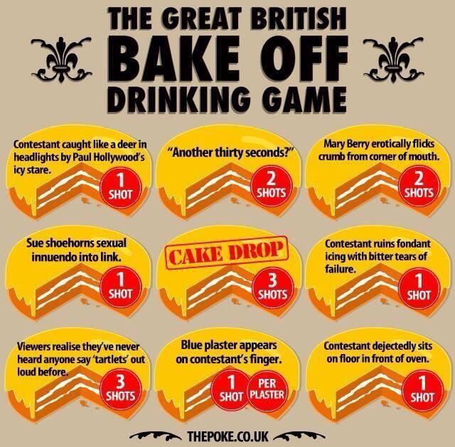 Great British Baking Show Drinking Game