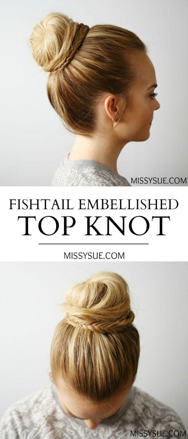 Fishtail Embellished Top Knot | Hair | Pinterest | Embellished top ...