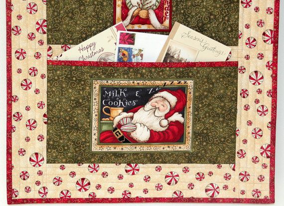 christmas card holder  quilted wall hanging  santa