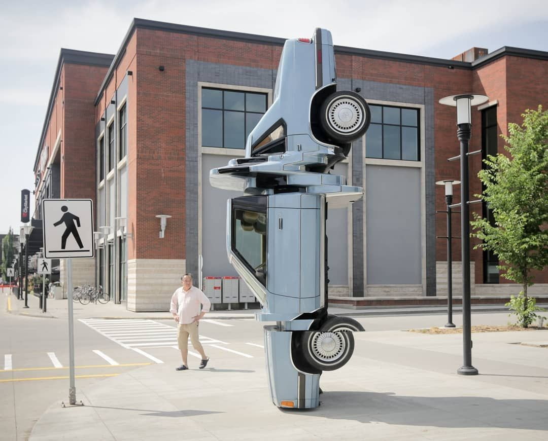 'Glitched' Plymouth 'Carbon Copy' Stands in Edmonton