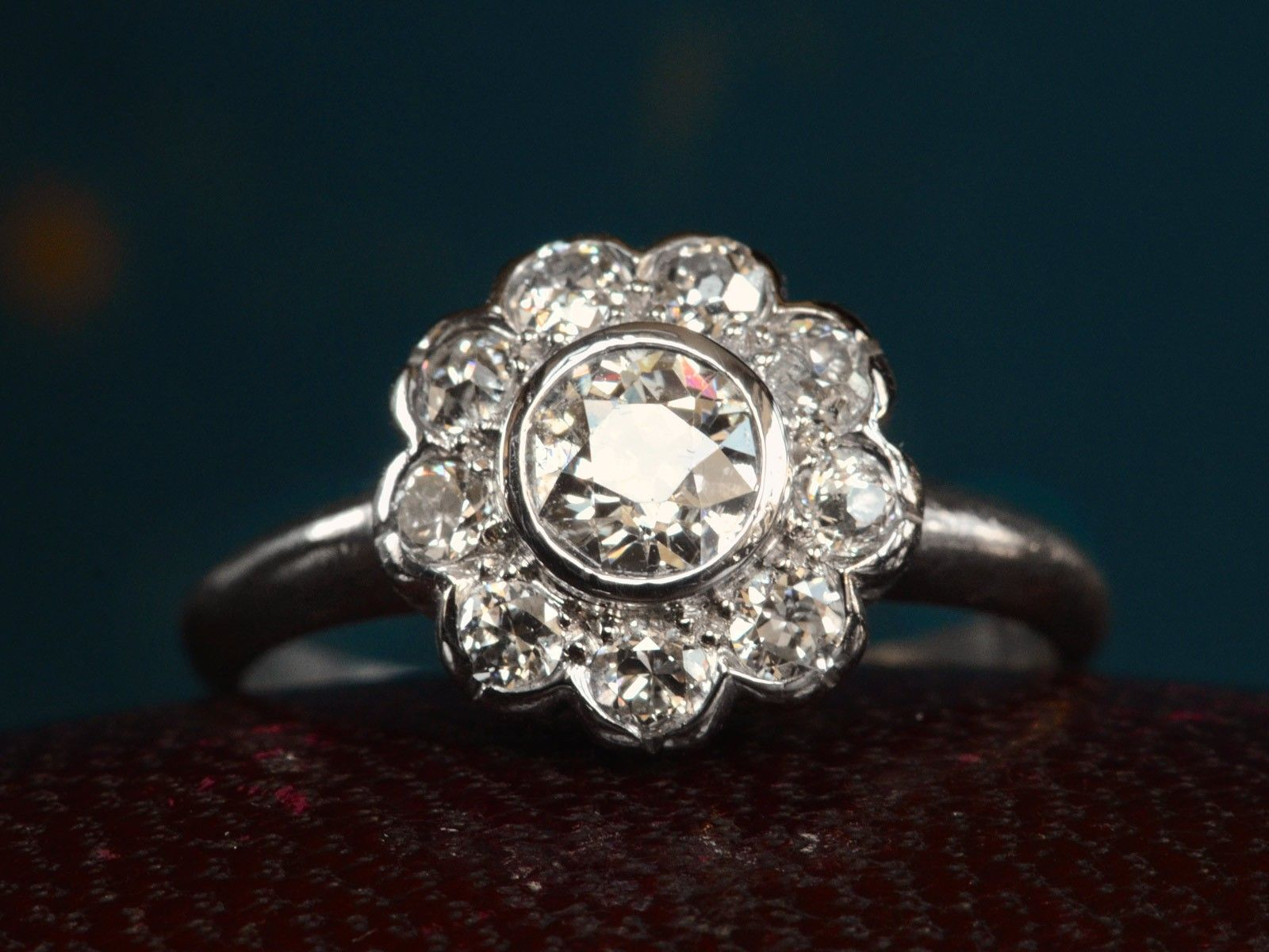 erie engagement cluster rings basin diamond daisy ring