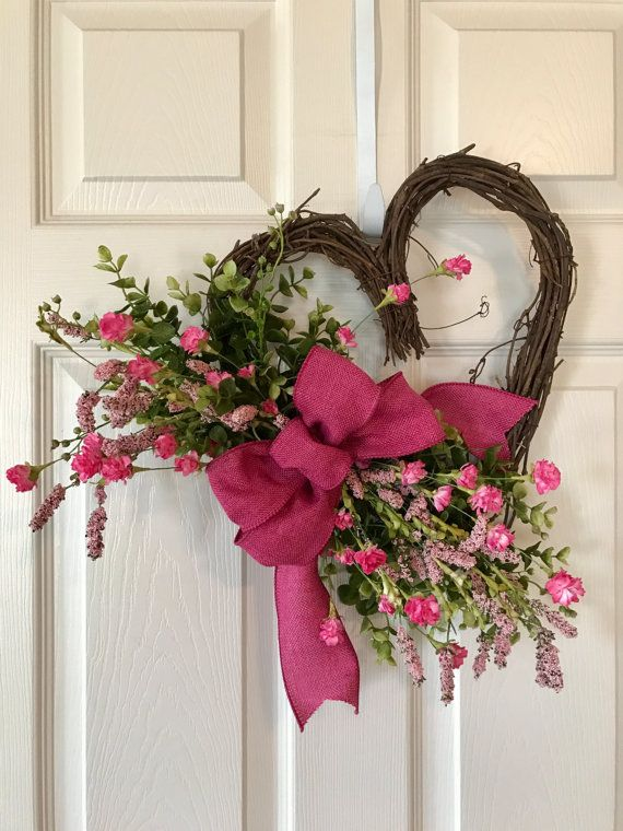 Adorable Valentine Heart Shaped Wreath Grapevine Wreath Accented With Greenery Pink Wil Valentines Heart Shaped Wreath Valentine Day Wreaths Valentine Wreath