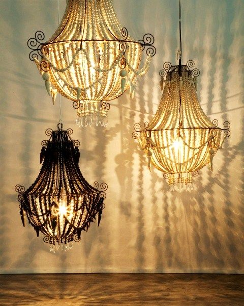 African Styled Chandeliers Made Of Thousands Of Mud Beads Hand