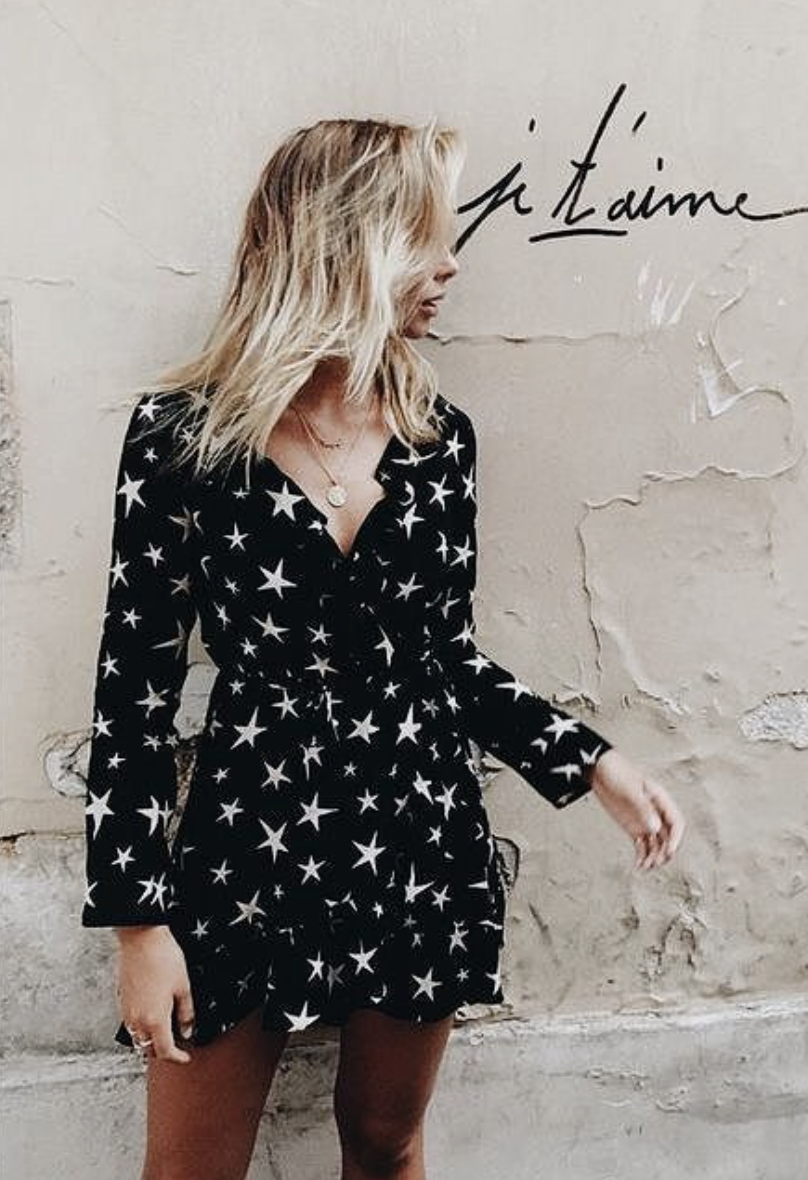 by the way  star wrap dress | blonde balayage hair | je taime