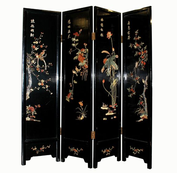 Antique Inlayed Asian Panel Folding Screen (for dining room)