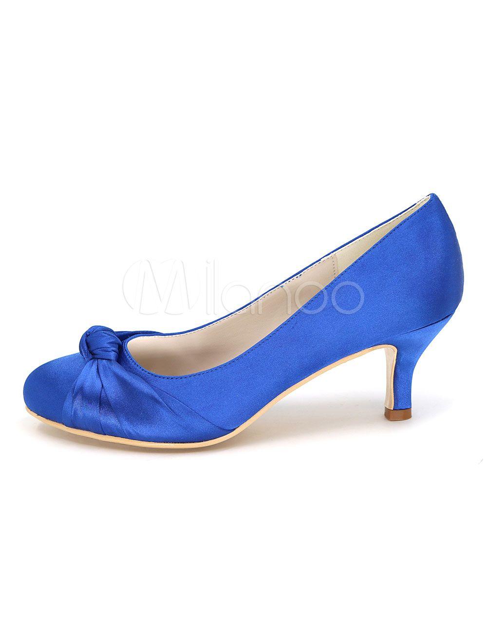 Blaue Hochzeit Schuhe Kitten Heel Verdreht Runde Spitze Slip On