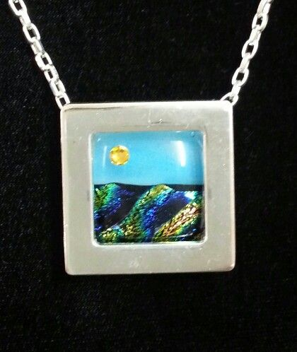 Gallery Pendany with fused glass & crystal sun. Interchangeable silver jewelry finding. Just add your art and a chain. www.ARTiFILL.com