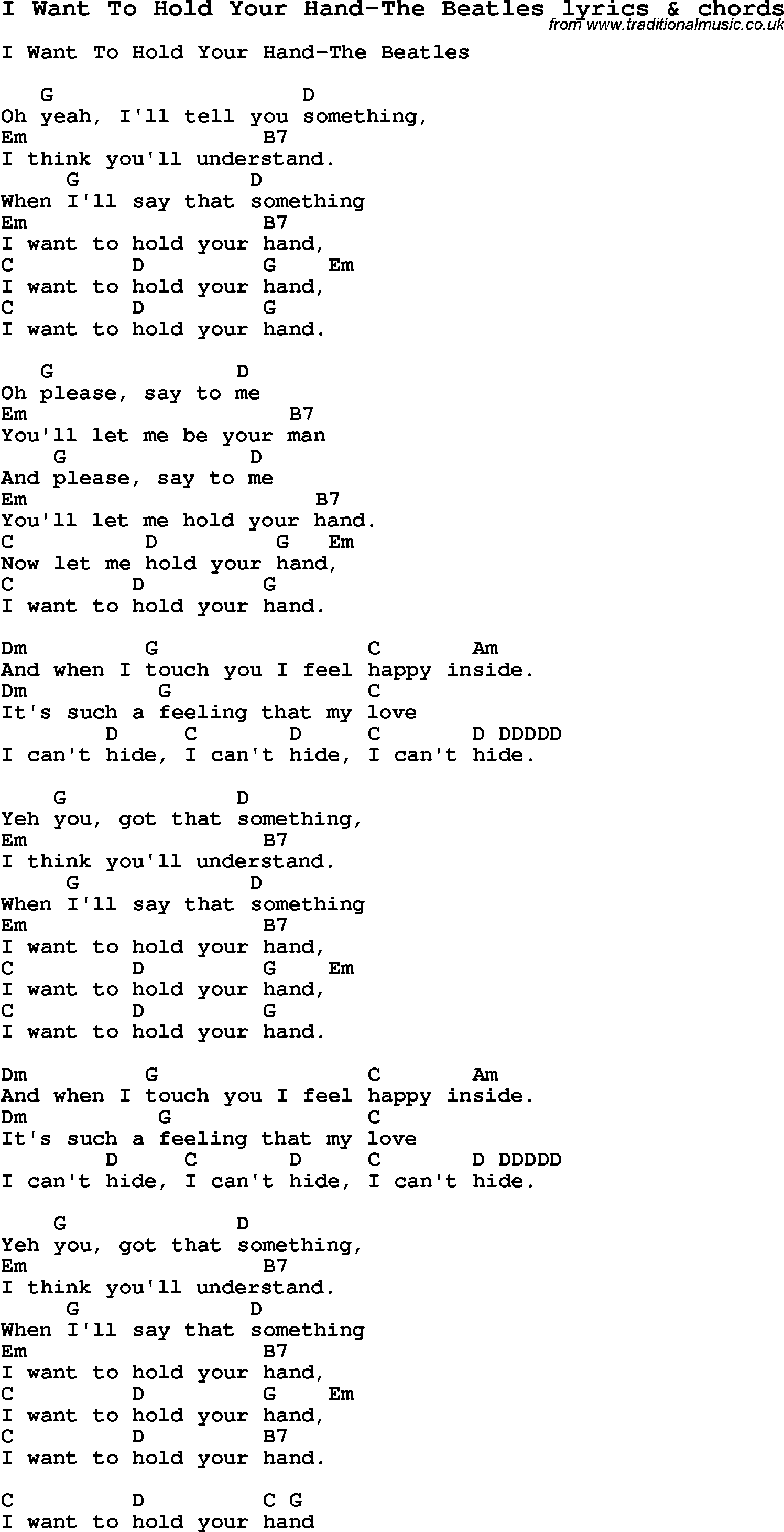 Love song lyrics for i want to hold your hand the beatles with love song lyrics for i want to hold your hand the beatles with chords for ukulele guitar banjo etc hexwebz Images