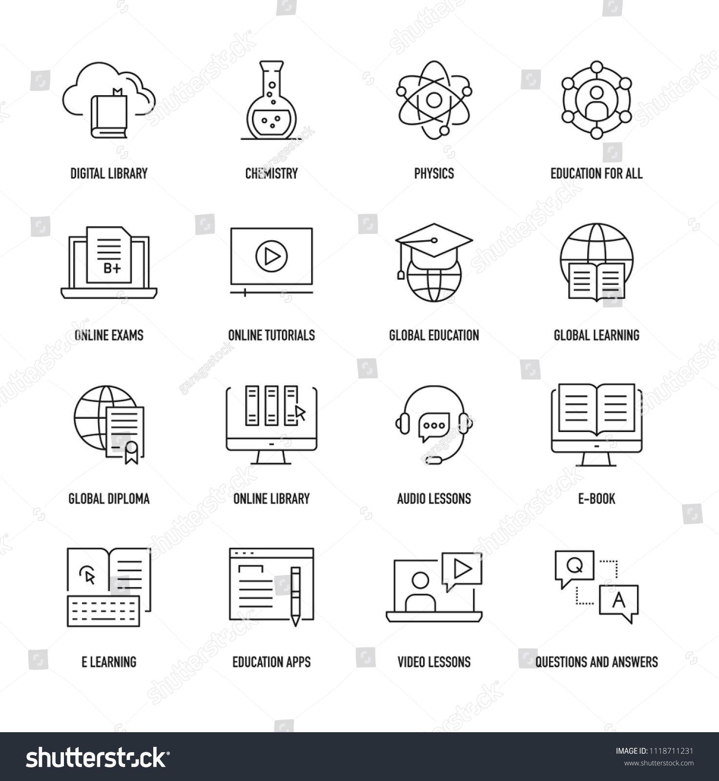 Online Education Icon Set Ad Ad Education Online Set Icon