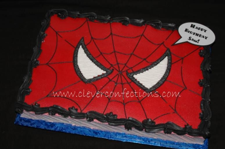 Spiderman Face - 12x18 sheet cake, all buttercream.
