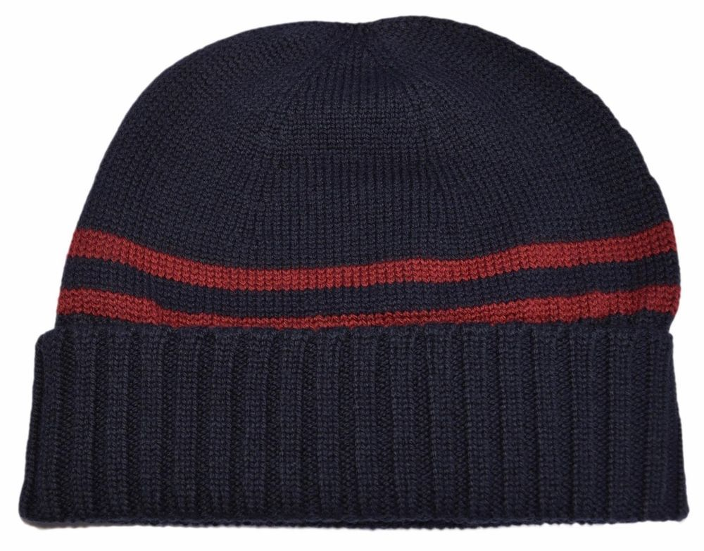 2e7af631663 New Gucci Men s 294731 Blue 100% Wool Red Stripe Beanie Ski Hat S  Gucci   Beanie