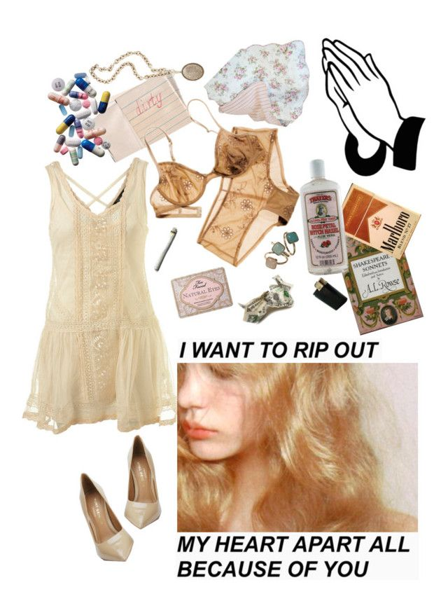 """""""she would do anything"""" by shootingstarsofsadness ❤ liked on Polyvore featuring Alöe, Hahn, Accessorize, Olivia Collings Antique Jewelry, Too Faced Cosmetics and Kurt Geiger"""