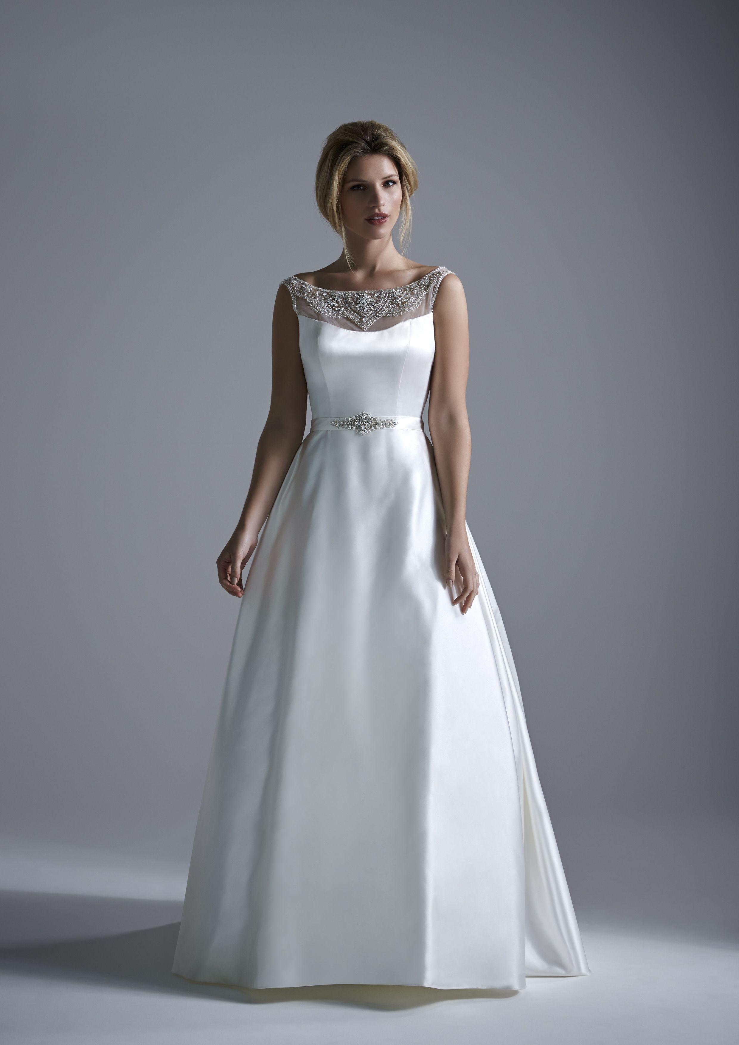 Hardwick a modern satin wedding dress with beaded illusion