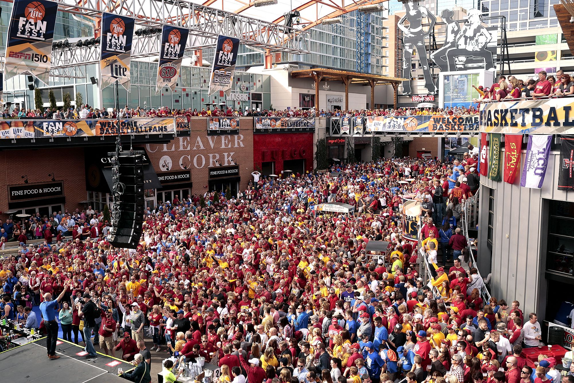 Iowa State Fans Crowd The Power And Light District And Cheer