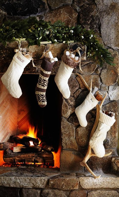 Stockings Over The Fireplace So Cozy Merry Little
