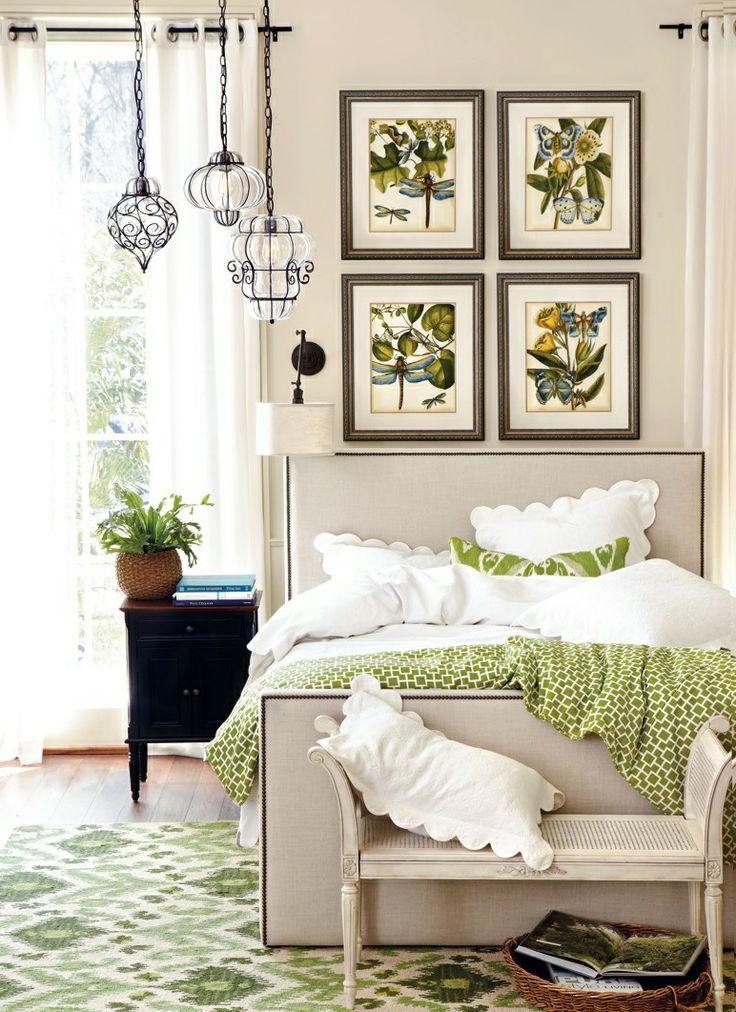 Bright green spring bedroom.