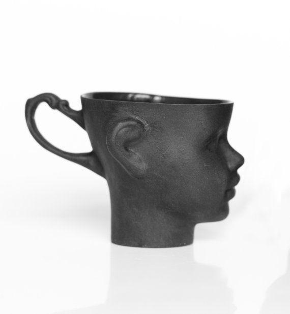 Porcelain doll head mug in black - whimsical black ceramic artisan ...