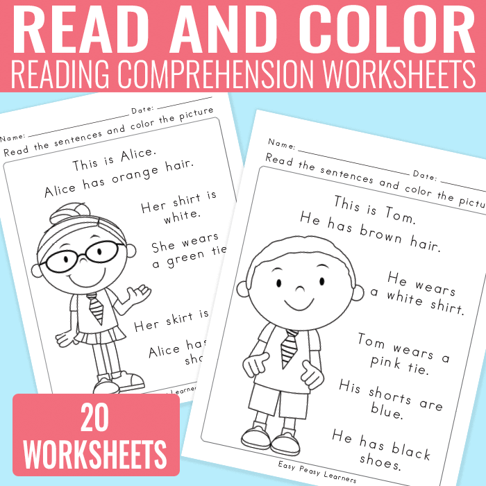 Kindergarten And Grade 1 Reading Prehension Worksheets