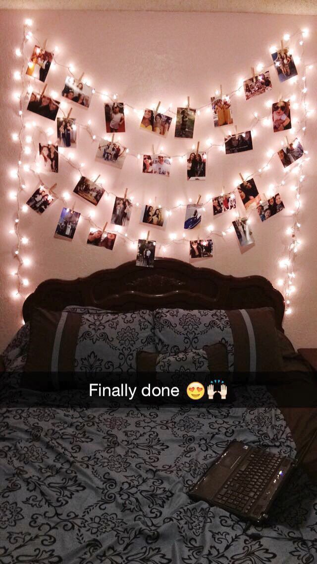 Picture hanger made from Christmas lights VSCO Room Ideas Christmas Hanger lights picture #bedroomlighting