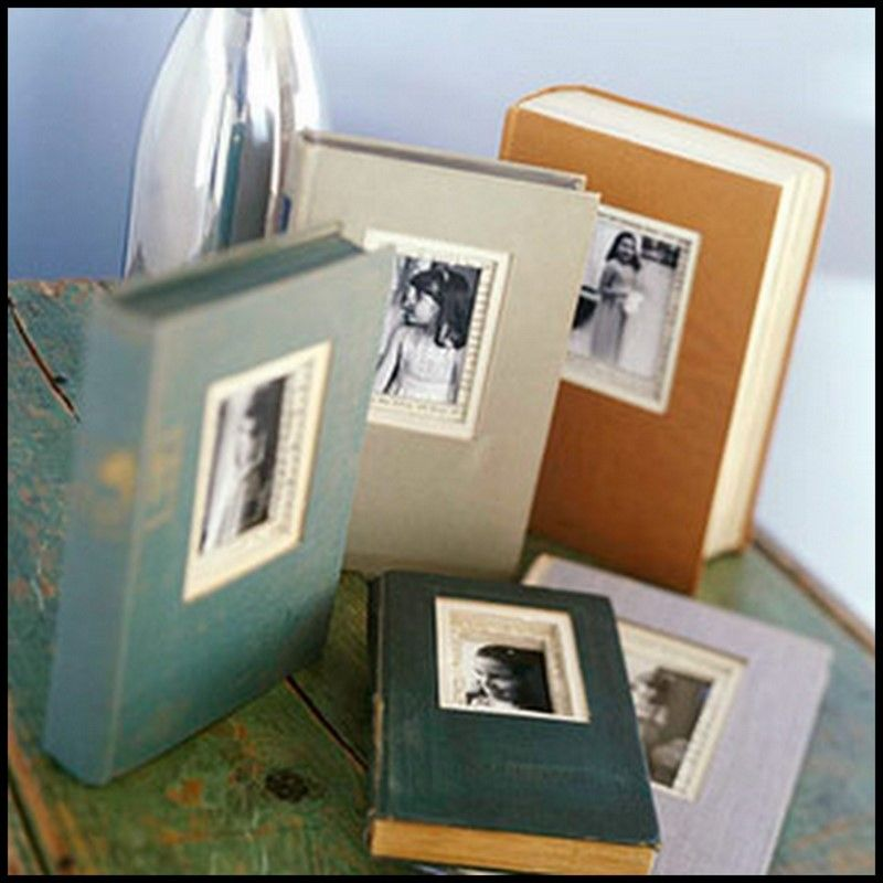 use second hand books as picture frames bringing out the artist in