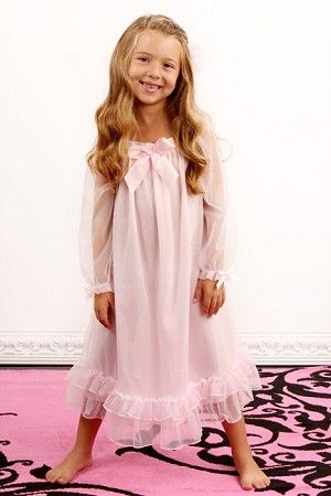65c540234 Laura Dare Long Sleeve Pink Bowtastic Nightgown