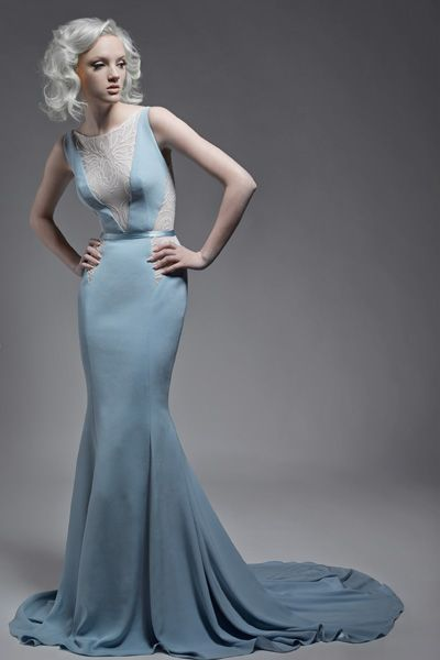 Paolo Sebastian Blue Fish Tail Dress With Lace Cutouts And Sheer Back