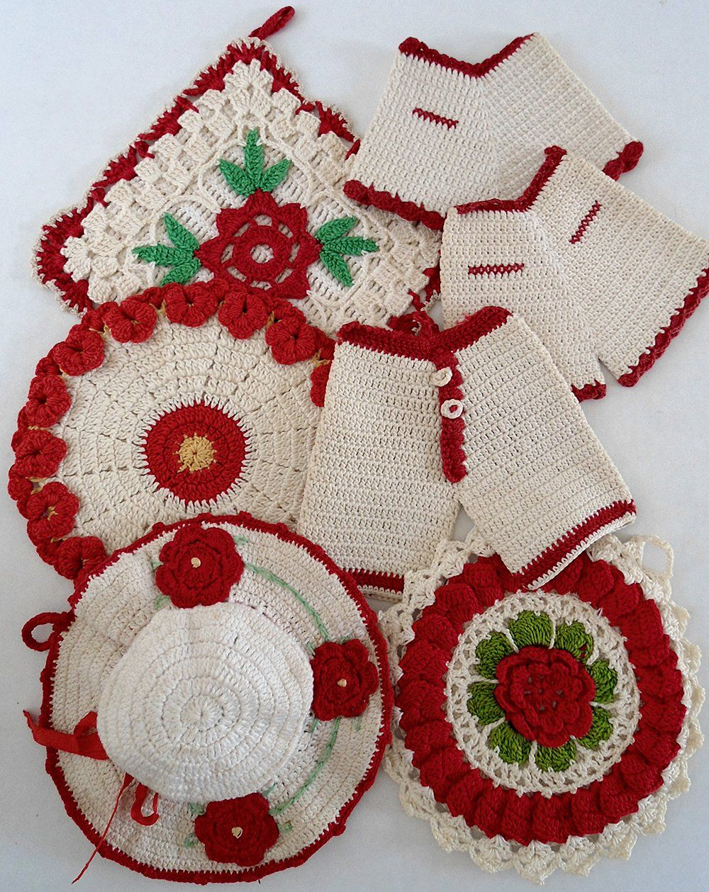 Vintage Redwork Potholders Crochet Pattern Mostly Knitting