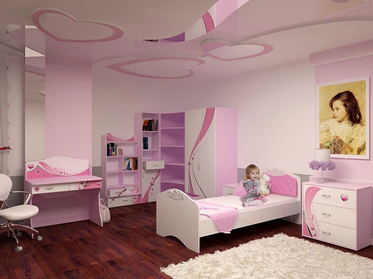 Little girls room furniture ideas and false ceiling design for Little kids room