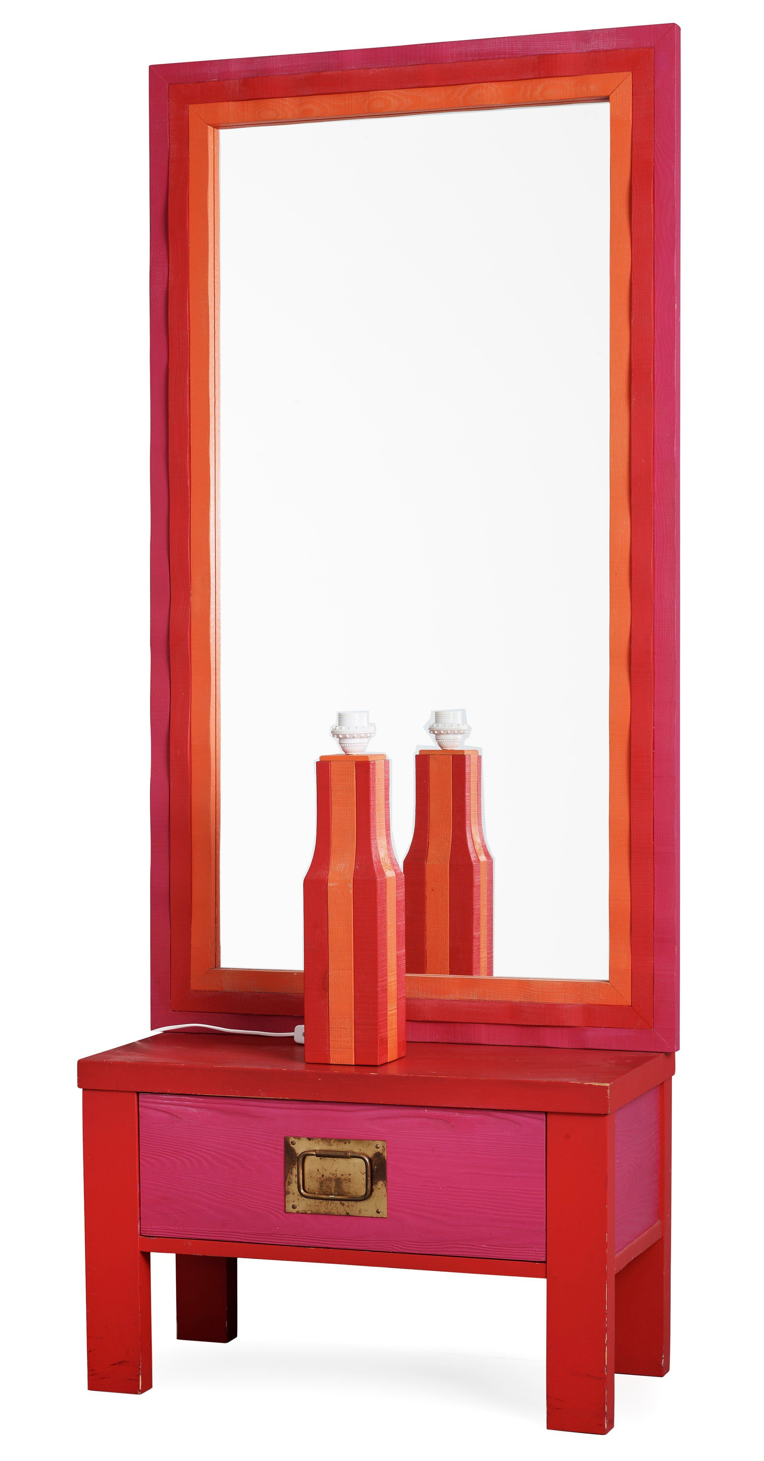 An Erik Höglund Set Of A Painted Wooden Bureau, A Mirror And A Table Lamp