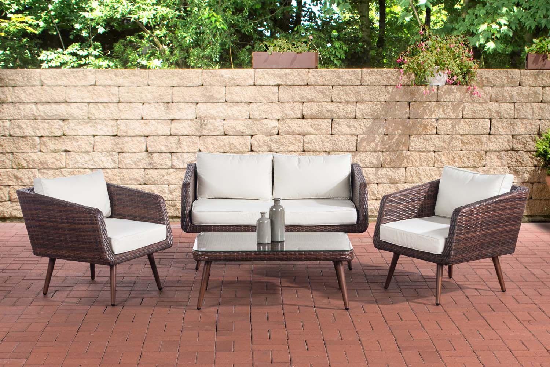 Lounge Set Trosa Flachrattan Cremeweiss 40 Cm Dunkelbraun Braun Meliert Aussenmobel Outdoor Sofa Polyrattan