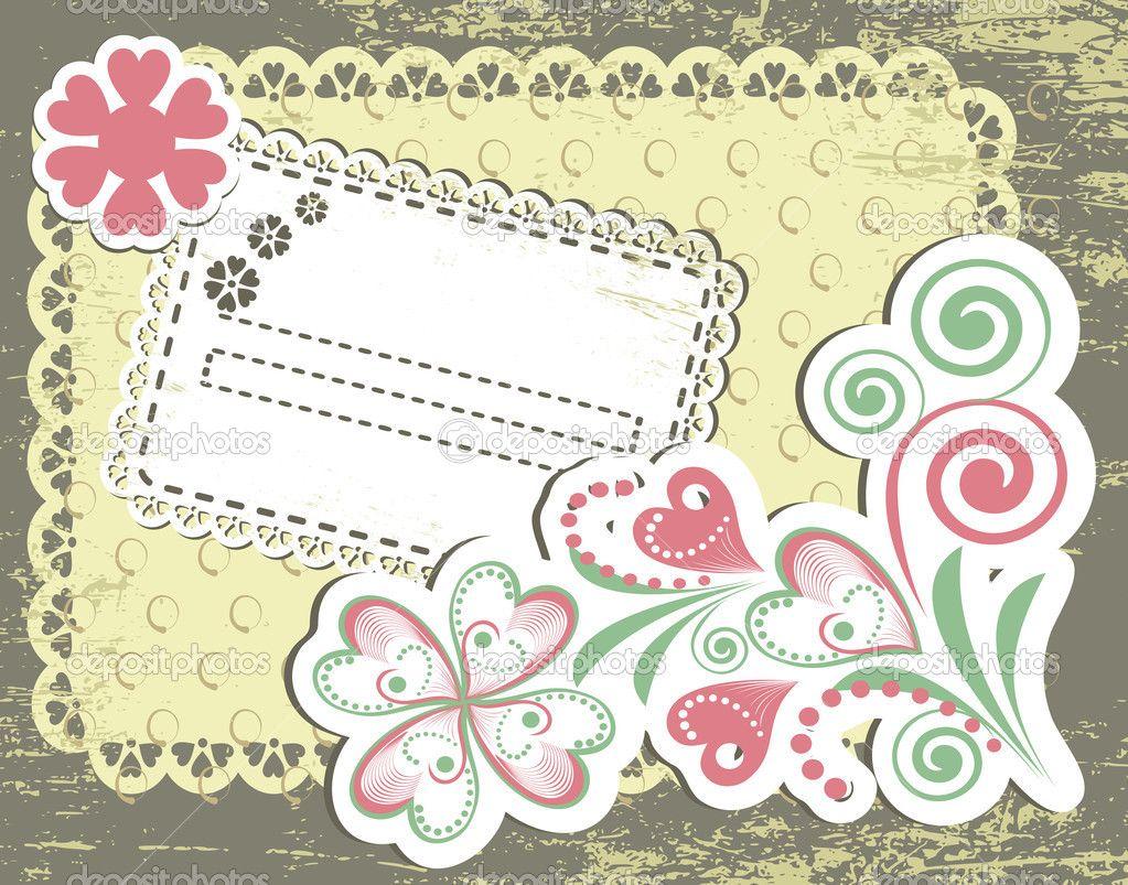 Diseño de marco flores vintage para tarjeta de felicitación ...