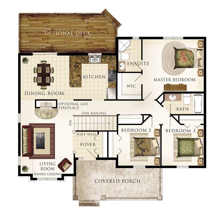Cottonwood floor plan beaver homes cottages 3 beds 2 - Living room bedroom bathroom kitchen ...